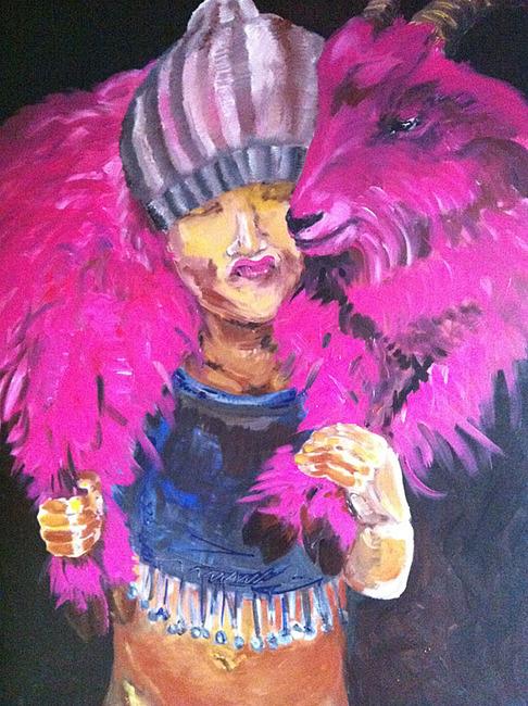 Malerei Bock in Pink