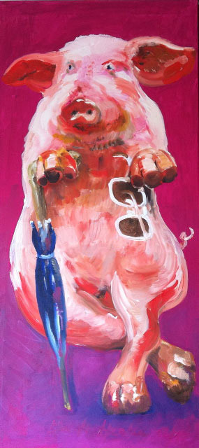 Malerei Ein Schwein