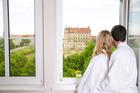 Aussicht vom Zimmer zum Schloss