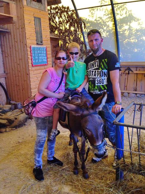 Familie mit Esel