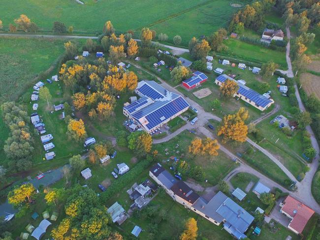Luftansicht vom Naturcampingplatz am Peenestrom/ Achterwasser
