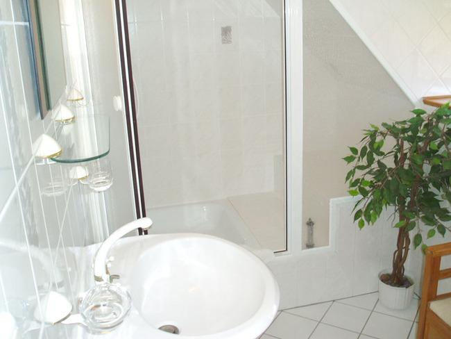 Badezimmer mit Dusche und Waschbecken