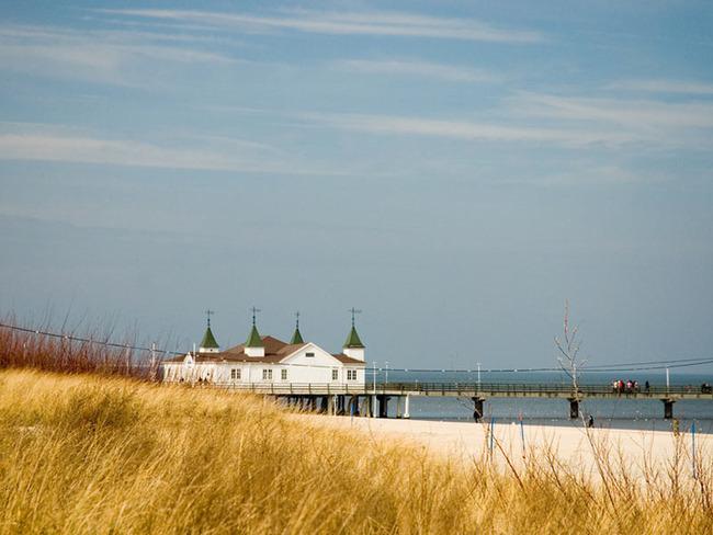 Blick von den Dünen auf den Strand, die Ostsee und Seebrücke Ahlbeck