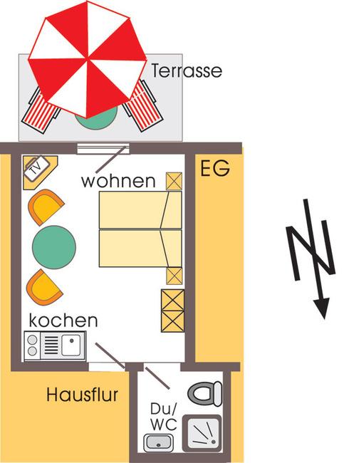 Grundriss vom 20 m² Ferienappartement