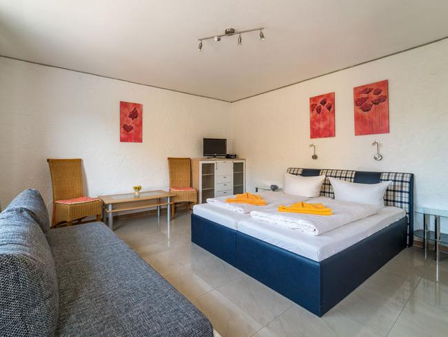 Doppelzimmer mit großes Doppelbett, Sofa und TV