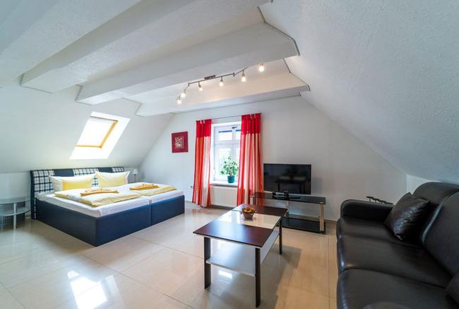 gemütlicher Wohnraum mit Couch und Doppelbett