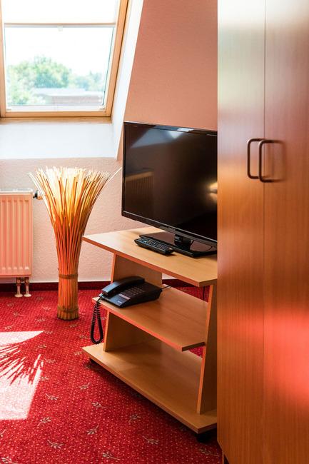 Zimmeransicht mit TV und Kleiderschrank
