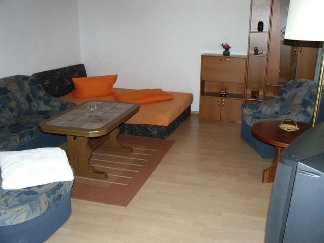 Ferienwohnung - Wohnraum mit Couchecke und Schlafgelegenheit