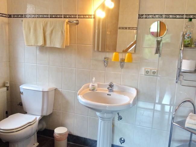 Ferienwohnung 1 - Badezimmer mit Fenster, Dusche, WC und Waschbecken, Fön und Kosmetikspiegel