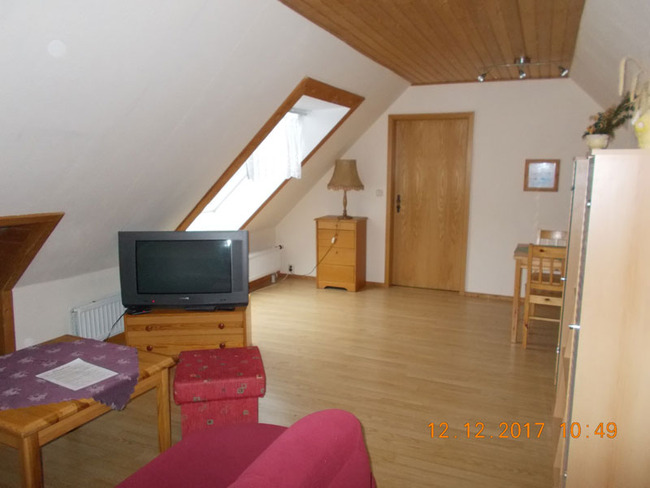 Wohnzimmer mit Couch und TV