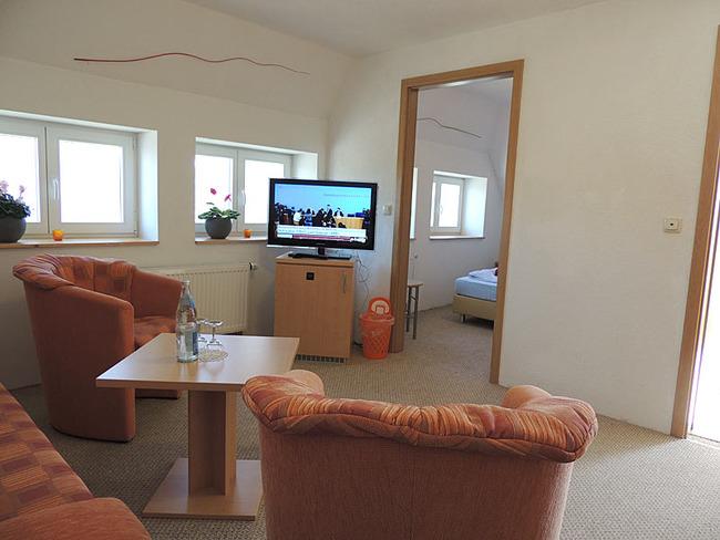 Appartement 10 Wohnraum mit Sessel und TV