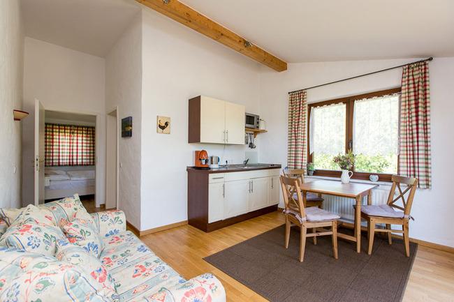 Doppelzimmer 16 - Zimmer mit Küchenzeile, Esstisch und Couch