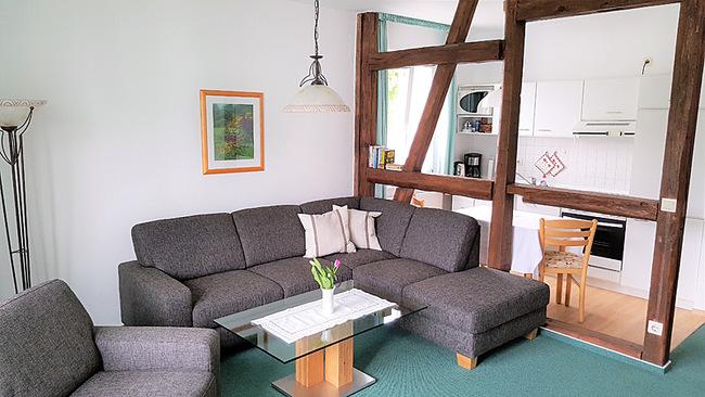 Wohnraum mit Couch und Küche