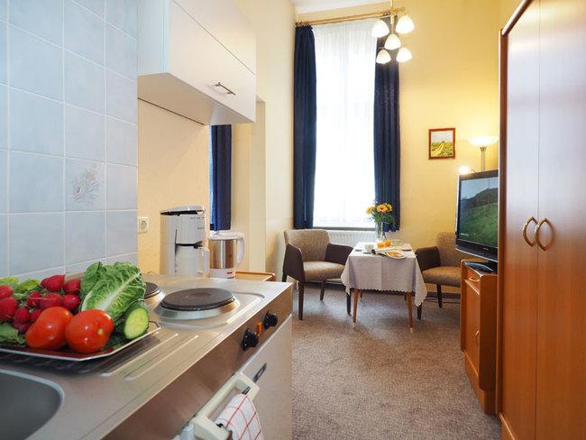 Appartement mit Miniküche und Sitzecke