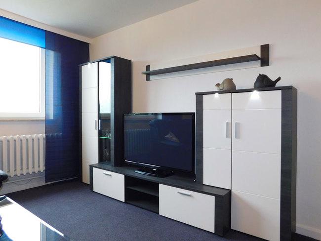 Fewo Daniel - Wohnwand mit TV im Wohn-Schlafzimmer