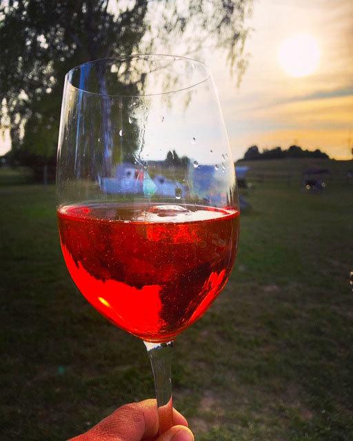 Ein Glas Wein im Garten genießen