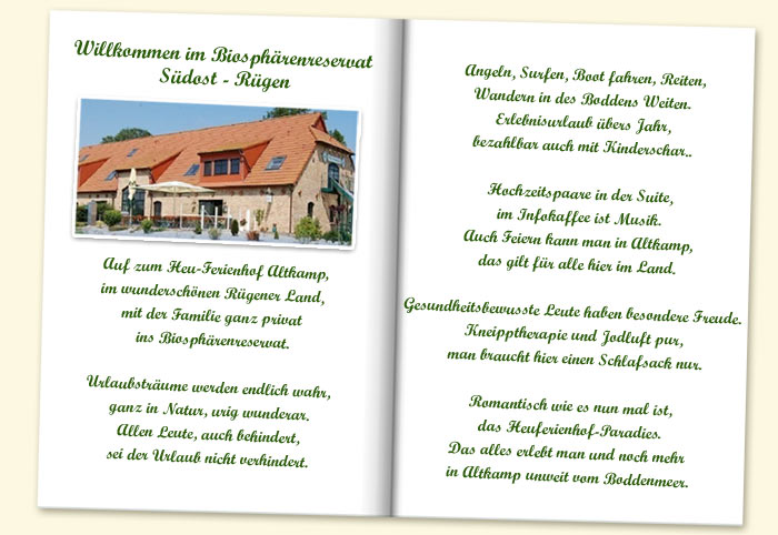 Gedicht Heuferienhof Heu Ferienhof Altkamp