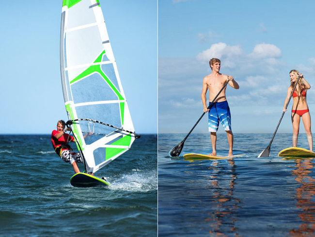 Surfen, Stand-Up Paddling vor Warnemünde